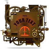 stock photo of levers  - Vector isolated image of the complex fantastic machine with stove - JPG