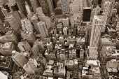 stock photo of pedestrians  - New York City Manhattan street aerial view black and white with skyscrapers - JPG
