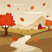 stock photo of farm landscape  - Cartoon illustration of red farm barn - JPG