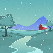 picture of red barn  - Cartoon illustration of red farm barn - JPG