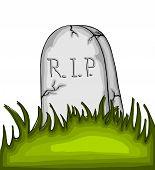 image of empty tomb  - Cartoon tombstone on the grass  - JPG