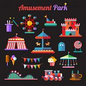 image of amusement park rides  - Set of vector flat design amusement park icons - JPG