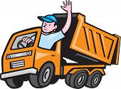 picture of dump_truck  - Illustration of a dump truck with driver waving hello on isolated white background done in cartoon style - JPG