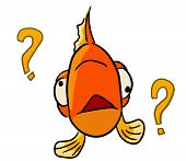 stock photo of feeling stupid  - cartoon animal expression emotion symbol icon sign fish forgot - JPG