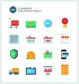 stock photo of electronic commerce  - Pixel perfect flat icons set of e - JPG