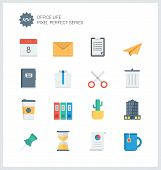 stock photo of dustbin  - Pixel perfect flat icons set of business items office tools working objects and management elements - JPG