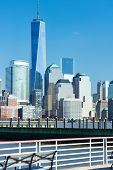 picture of freedom tower  - New York City Manhattan skyline with One World Trade Center Tower  - JPG