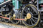 stock photo of train-wheel  - Anceint Train wheel on railway for travel - JPG