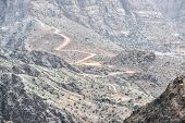 stock photo of jabal  - Image of road on Jebel Akhdar Saiq Plateau in Oman - JPG