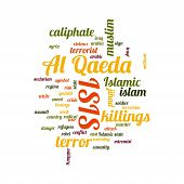 stock photo of isis  - ISIS and Al Qaeda word cloud on white background - JPG