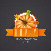 stock photo of happy thanksgiving  - Stylish sticky design with glossy pumpkin - JPG