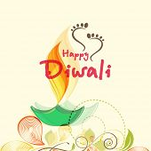 picture of diwali  - Stylish text of Diwali with illuminated oil lit lamp and Goddess Laxmi - JPG