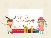 foto of merry  - Merry Christmas celebrations greeting card with cute little kids and colourful gift boxes on beige background - JPG