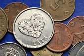 stock photo of lats  - Coins of Latvia - JPG