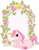 picture of fairy  - Romantic floral fairy tale frame with unicorn - JPG