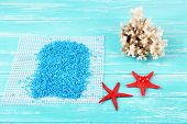 foto of shell-fishes  - Sea salt crystals with sea shells - JPG