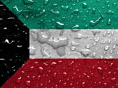 pic of kuwait  - a flag of Kuwait with rain drops - JPG