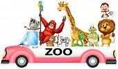 stock photo of pick up  - Illustration of many animals on a pick up truck - JPG