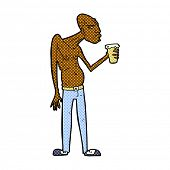 stock photo of hooligans  - retro comic book style cartoon hooligan with pint of beer - JPG