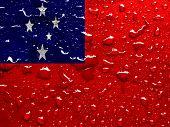 stock photo of samoa  - a flag of Samoa with rain drops  - JPG