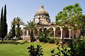 stock photo of beatitudes  - Roman Catholic chapel at Mount of Beatitudes near Lake Kinneret Israel - JPG