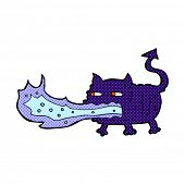 pic of fire-breathing  - retro comic book style cartoon fire breathing imp - JPG