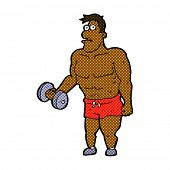 foto of weight lifter  - retro comic book style cartoon man lifting weights - JPG