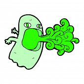image of funny ghost  - funny retro comic book style cartoon ghost - JPG