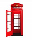 image of phone-booth  - British Red Telephone Booth isolated on white background - JPG