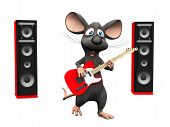 stock photo of singing  - A cute smiling cartoon mouse singing and playing on an electric guitar - JPG