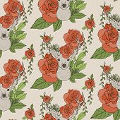 picture of antlers  - elegant seamless pattern with deer antlers and roses over beige - JPG