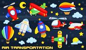 pic of air transport  - an air transportation vector set with many airplane - JPG