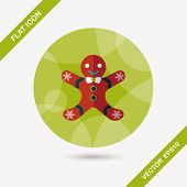 stock photo of ginger man  - Gingerbread Man Flat Icon With Long Shadow - JPG