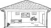 pic of workbench  - Outline cartoon of open residential garage with bike and workbench - JPG
