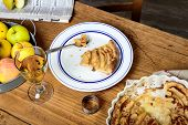 image of cider apples  - apple pie on a table with apples and glass of cider - JPG