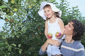 foto of daddy  - A girl and her daddy with apple background - JPG