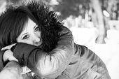 foto of grayscale  - Closeup portrait of a pretty woman in winter in grayscale - JPG