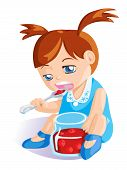 stock photo of jar jelly  - cute baby girl in blue dress eating cherry jam from glass jar - JPG