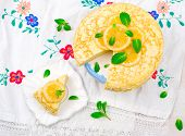 stock photo of curd  - blinis pie with the lemon curd - JPG