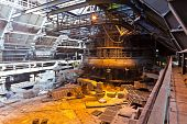 image of blast-furnace  - Interior of blast furnace workshop of the metallurgical plant - JPG