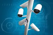 picture of cctv  - CCTV camera against shiny blue binary code on black background - JPG