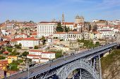 image of dom  - View of the iconic Dom Luis I bridge that crosses the Douro River - JPG