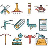 pic of obstetrics  - Set of flat colors with black line contour vector icons for gynecology and obstetrics on white background - JPG