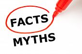Постер, плакат: Facts Myths Concept Red Marker