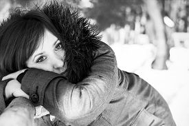 picture of grayscale  - Closeup portrait of a pretty woman in winter in grayscale - JPG