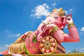 picture of ganesh  - Beautiful Ganesh statue on blue sky at wat saman temple in Prachinburi province of thailand Is highly respected by the people of Asia - JPG