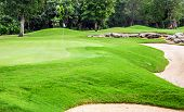 stock photo of mayan  - Beautiful golf course on mayan riviera in Mexico - JPG