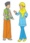 stock photo of polite girl  - Indonesian muslim boy and girl hanging out together - JPG