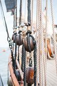 image of roping  - Marine ropes and tackles on the tall ship - JPG