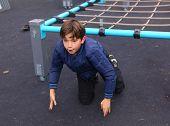 pic of preteen  - preteen handsome boy train in outdoor gym training ground - JPG